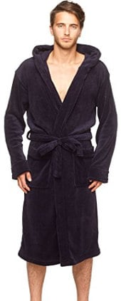 Men's Hooded Plush Micro Fleece Bathrobe