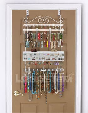 White Overdoor/Wall Jewelry Organizer