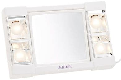 Jerdon J1010 6-Inch Portable Lighted Mirror