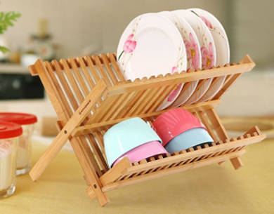 SONGMICS 2 Levels Bamboo Folding Dish Rack