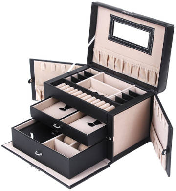 Songmics Black Leather Jewelry Box