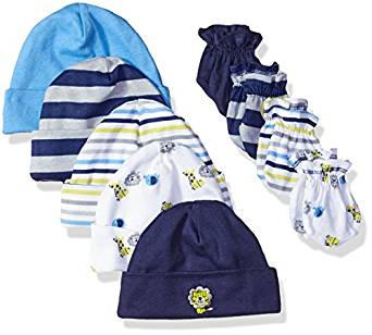 Gerber Baby Boys' 9 Piece Cap and Mitten Bundle