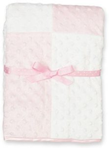 Spasilk Baby Newborn Minky Raised Dot Blanket with Satin Trim