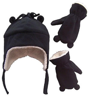 N'lce Caps Little Boys and Baby Sherpa Lined Micro Fleece Pilot Hat and Mitten Set