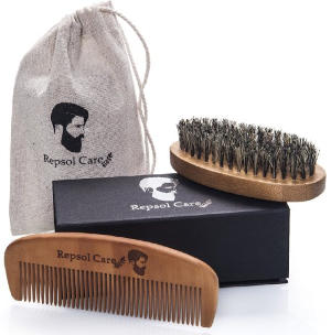 Repsol Care Natural Boar Bristle Beard Brush and Handmade Beard Comb Kit