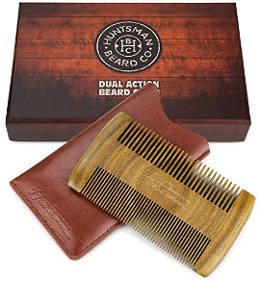 Huntsman Beard Dual Action Beard Comb with Protective Sleeve