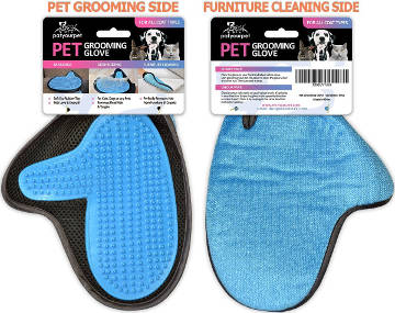 2-in-1 Glove Grooming Tool and Furniture Pet Hair Remover Mitt