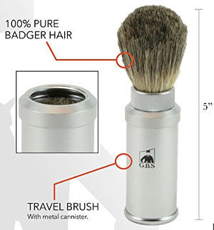 GBS 100% Pure Badger Bristle Travel Shaving Brush